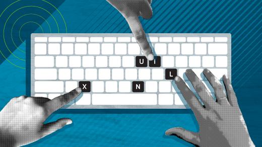 Linux keys on the keyboard for a desktop computer